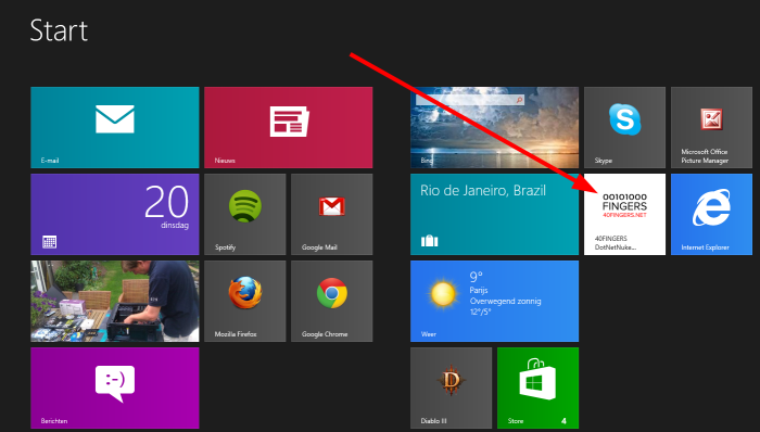 Windows8Pin Example Start Screen Tile
